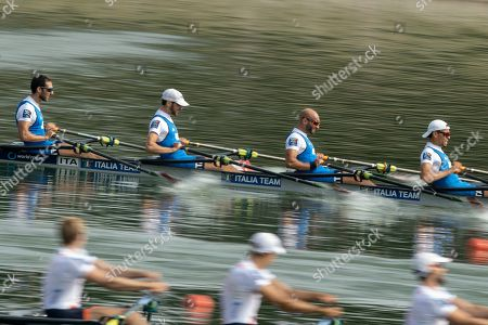 Lorenzo Fontana, Alfonso Scalzone, Catello Il Amarante of Italy (C) compete in the Women's Single Sculls Semifinal A/B at the World Rowing Championship 2019 in Linz-Ottensheim, Austria, 30 August 2019.
