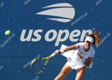 Johanna Konta, of the United Kingdom, serves to Zhang Shuai, of China, during round three of the US Open tennis championships, in New York