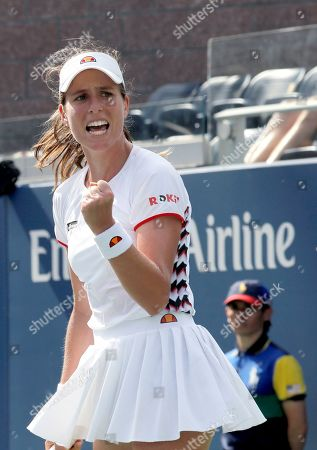 Johanna Konta, of the United Kingdom, reacts after defeating Zhang Shuai, of China, during round three of the US Open tennis championships, in New York