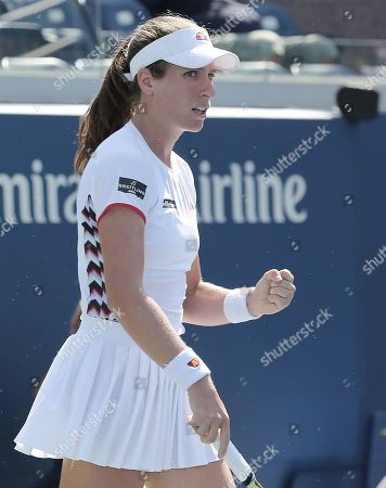 Johana Konta of Great Britain reacts as she plays Zhang Shuai of China during their match on the fifth day of the US Open Tennis Championships the USTA National Tennis Center in Flushing Meadows, New York, USA, 30 August 2019. The US Open runs from 26 August through 08 September.