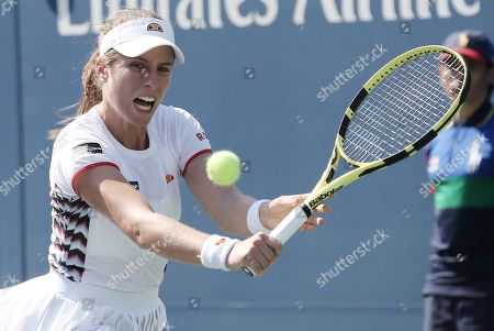 Johana Konta of Great Britain hits a return to Zhang Shuai of China during their match on the fifth day of the US Open Tennis Championships the USTA National Tennis Center in Flushing Meadows, New York, USA, 30 August 2019. The US Open runs from 26 August through 08 September.