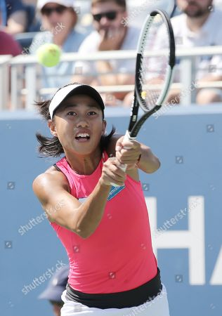 Zhang Shuai of China hits a return to Johana Konta of Great Britain during their match on the fifth day of the US Open Tennis Championships the USTA National Tennis Center in Flushing Meadows, New York, USA, 30 August 2019. The US Open runs from 26 August through 08 September.
