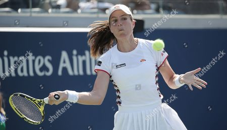 Stock Image of Johana Konta of Great Britain hits a return to Zhang Shuai of China during their match on the fifth day of the US Open Tennis Championships the USTA National Tennis Center in Flushing Meadows, New York, USA, 30 August 2019. The US Open runs from 26 August through 08 September.