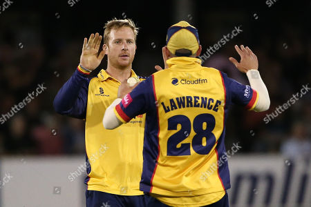 Simon Harmer of Essex celebrates taking the wicket of Sam Billings during Essex Eagles vs Kent Spitfires, Vitality Blast T20 Cricket at The Cloudfm County Ground on 30th August 2019