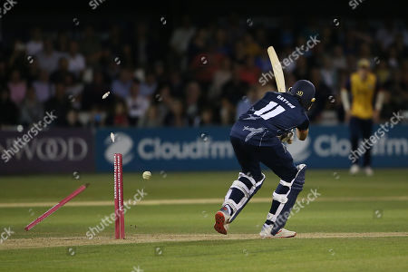 Imran Qayyum is bowled out by Mohammad Amir during Essex Eagles vs Kent Spitfires, Vitality Blast T20 Cricket at The Cloudfm County Ground on 30th August 2019