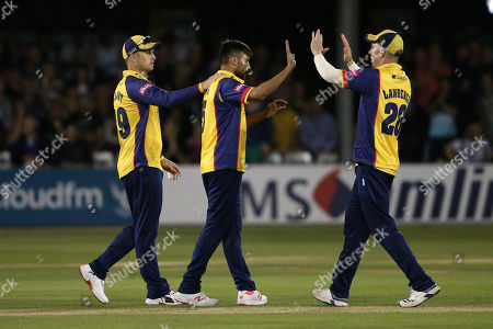 Mohammad Amir of Essex celebrates with his team mates after taking the wicket of Alex Blake during Essex Eagles vs Kent Spitfires, Vitality Blast T20 Cricket at The Cloudfm County Ground on 30th August 2019