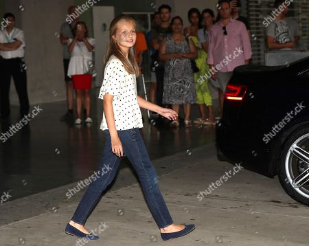 Spain's Princess Leonor leaves the Hospital Quiron Salud Madrid following her visit to her grandfather emeritus King Juan Carlos I (unseen), in the town of Pozuelo de Alarcon, outside Madrid, Spain, 30 August 2019. The monarch recovers in the hospital from a triple bypass surgery on 24 August.