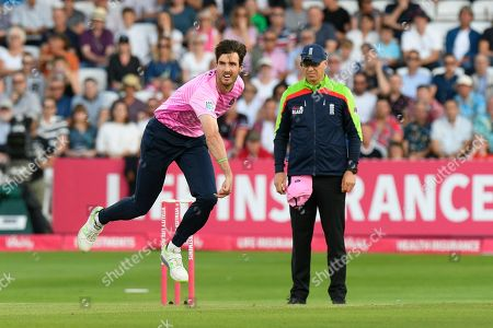 Steven Finn of Middlesex bowling during the Vitality T20 Blast South Group match between Somerset County Cricket Club and Middlesex County Cricket Club at the Cooper Associates County Ground, Taunton