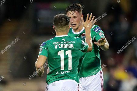Stock Image of Cork City vs Sligo Rovers. Cork City's Dan Casey celebrates scoring his side's first goal with Daire O'Connor