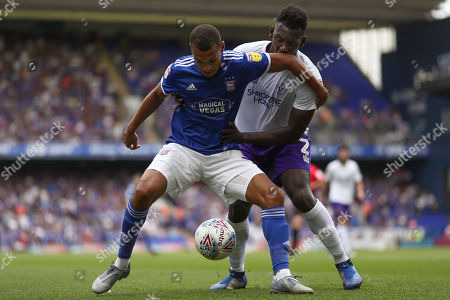 Kayden Jackson of Ipswich Town holds off Aaron Pierre of Shrewsbury Town - Ipswich Town v Shrewsbury Town, Sky Bet League One, Portman Road, Ipswich, UK - 31st August 2019 Editorial Use Only - DataCo restrictions apply