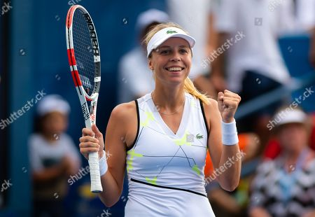 Stock Picture of Anett Kontaveit of Estonia playing doubles