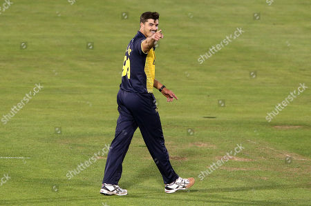 Marchant De Lange of Glamorgan celebrates the wicket of James Vince of Hampshire who is caught by David Lloyd.
