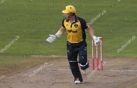 Stock Picture of Shaun Marsh of Glamorgan throws his bat whist he tries to hit a shot.