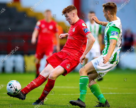 Shelbourne vs Bray Wanderers. Shelbourne's Sean Quinn with Joe Doyle of Bray