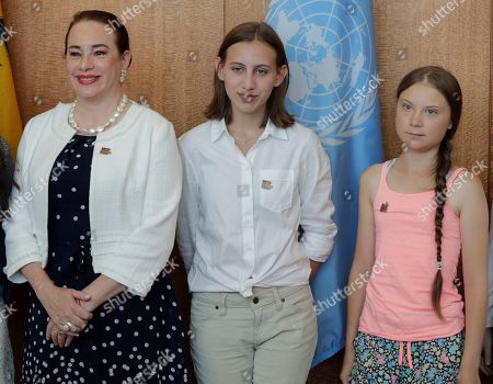 Maria Fernanda Espinosa Garces, President of the seventy-third session of the General Assembly, meets with Greta Thunberg, climate activist from Sweden, and Alexandria Villasenor climate activists from the United States.