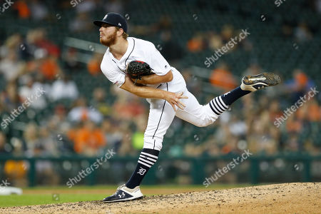 Detroit Tigers relief pitcher David McKay throws during a baseball game against the Minnesota Twins, in Detroit