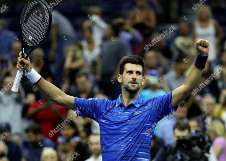 Novak Djokovic of Serbia celebrates defeating Denis Kudla of the USA during the fifth day of the US Open Tennis Championships at the USTA National Tennis Center in Flushing Meadows, New York, USA, 30 August 2019. The US Open runs from 26 August through to 08 September 2019.