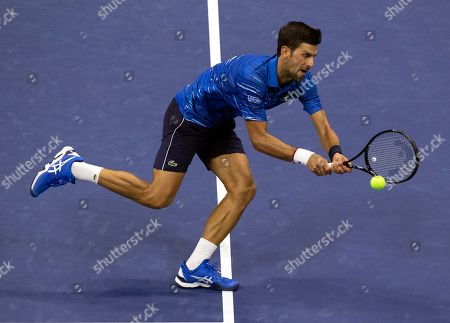 Novak Djokovic of Serbia in action against Denis Kudla of the USA during the fifth day of the US Open Tennis Championships at the USTA National Tennis Center in Flushing Meadows, New York, USA, 30 August 2019. The US Open runs from 26 August through to 08 September 2019.