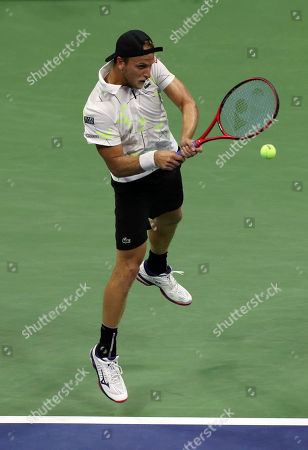Denis Kudla of the USA in action against Novak Djokovic of Serbia during the fifth day of the US Open Tennis Championships at the USTA National Tennis Center in Flushing Meadows, New York, USA, 30 August 2019. The US Open runs from 26 August through to 08 September 2019.