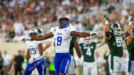 Tulsa safety Brandon Johnson (8) gestures on the field after a Michigan State field goal attempt during the first half of an NCAA football game on in East Lansing, Mich. Michigan State won 28-7