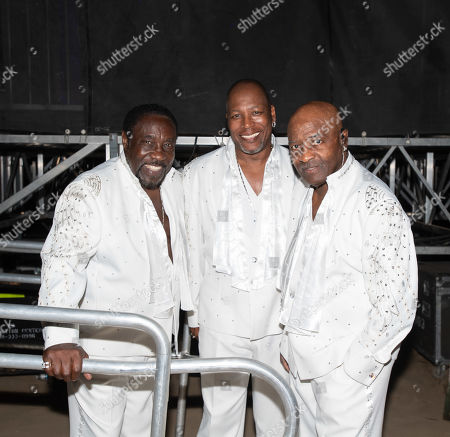 (L-R) Eddie Levert, Eric Nolan Grant and Walter Williams Sr. members of the R&B Group The O'Jays perform at the LA County Fair on Friday