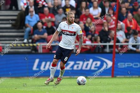 Adam Clayton (8) of Middlesbrough during the EFL Sky Bet Championship match between Bristol City and Middlesbrough at Ashton Gate, Bristol