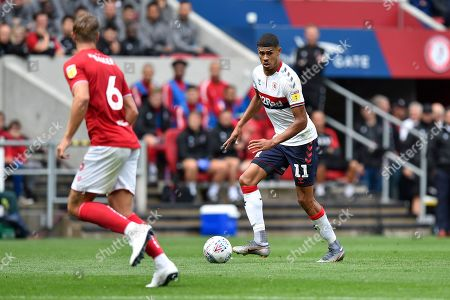 Ashley Fletcher (11) of Middlesbrough on the attack during the EFL Sky Bet Championship match between Bristol City and Middlesbrough at Ashton Gate, Bristol