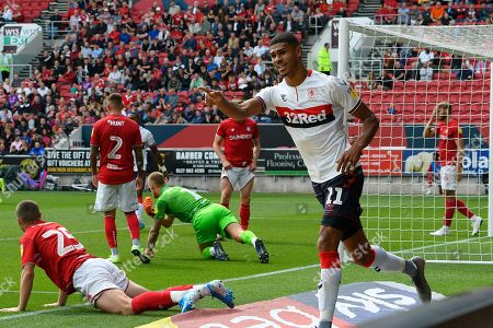Goal - Ashley Fletcher (11) of Middlesbrough celebrates the Taylor Moore (23) of Bristol City own goal which leveled the scores at 1-1 during the EFL Sky Bet Championship match between Bristol City and Middlesbrough at Ashton Gate, Bristol