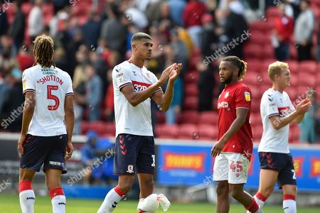 Ashley Fletcher (11) of Middlesbrough applauds the fans at full time after a 2-2 draw during the EFL Sky Bet Championship match between Bristol City and Middlesbrough at Ashton Gate, Bristol