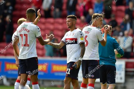Ashley Fletcher (11) of Middlesbrough and Marvin Johnson (21) of Middlesbrough shake hands at full time after a 2-2 draw during the EFL Sky Bet Championship match between Bristol City and Middlesbrough at Ashton Gate, Bristol