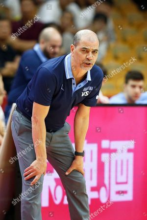 Argentina's head coach Sergio Hernandez reacts during the FIBA Basketball World Cup 2019 group B match between Argentina and South Korea in Wuhan, China, 31 August 2019.
