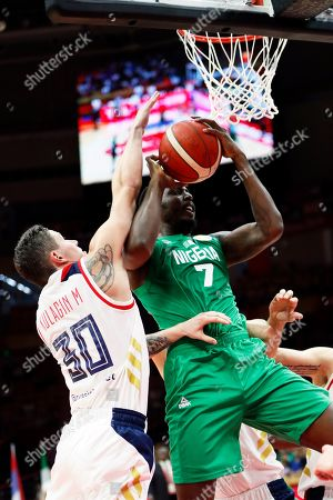 Al Farouq Aminu (R) of Nigeria in action against Mikhail Kulagin (L) of Russia during the FIBA Basketball World Cup 2019 match between Russia and Nigeria in Wuhan, China, 31 August 2019. The FIBA Basketball World Cup 2019 takes place from 31 August through 15 September 2019.