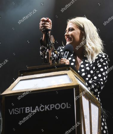 Lucy Fallon turns on blackpool lights