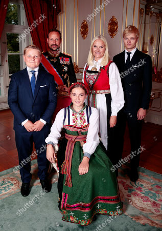 Norway's Princess Ingrid Alexandra (C) poses with her siblings and parents (L-R) Prince Sverre Magnus, Crown Prince Haakon, Crown Princess Mette-Marit and Marius Borg Hoiby in the Royal Palace in Oslo, Norway, 31 August 2019. The 15-year-old daugther of of Crown Prince Haakon and Princess Mette-Marit was confirmed in the Palace Chapel after she has followed the confirmation teaching in the Asker congregation. Princess Ingrid Alexandra is second-in-line to the Norwegian throne after her father.