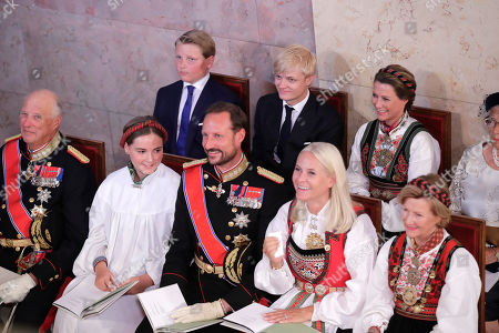 Norway's (front, R-L) Queen Sonja, Crown Princess Mette-Marit, Crown Prince Haakon, Princess Ingrid Alexandra, King Harald V, and (rear, R-L) Princess Martha Louise, Marius Borg Hoiby and Prince Sverre Magnus attend the confirmation ceremony of Princess Ingrid Alexandra in the Palace Chapel in Oslo, Norway, 31 August 2019. The 15-year-old daugther of of Crown Prince Haakon and Princess Mette-Marit has followed the confirmation teaching in the Asker congregation. Princess Ingrid Alexandra is second-in-line to the Norwegian throne after her father.