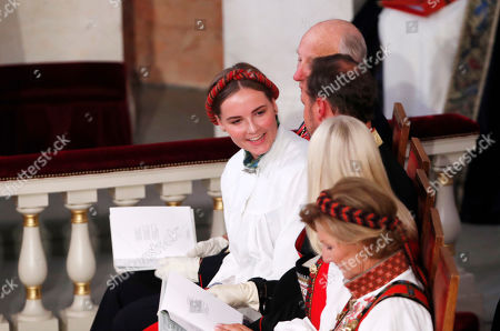 Norway's Princess Ingrid Alexandra (C) smiles as she sits with her family during her confirmation ceremony in the Palace Chapel in Oslo, Norway, 31 August 2019. The 15-year-old daugther of of Crown Prince Haakon and Princess Mette-Marit has followed the confirmation teaching in the Asker congregation. Princess Ingrid Alexandra is second-in-line to the Norwegian throne after her father.