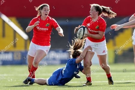 Munster Women vs Leinster Women. Munster's Enya Breen and Michelle Claffey of Leinster