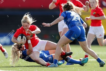 Munster Women vs Leinster Women. Munster's Stephanie Carroll is tackled by Megan Williams of Leinster