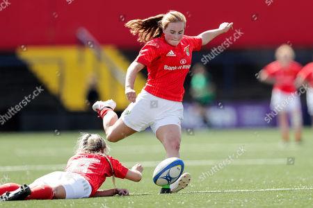 Munster Women U18 vs Leinster Women U18. Munster's Emma Connolly kicks a conversion