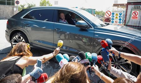 Spain's Emeritus King Juan Carlos talks to media as he leaves Hospital Quiron Salud in the town of Pozuelo de Alarcon, outside Madrid, Spain, 31 August 2019. Emeritus King has been discharged from hospital after undergoing a triple bypass surgery last 24 August.