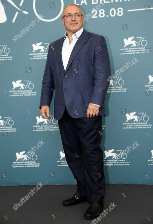 Exiled Russian businessman Mikhail Khodorkovsky poses at a photocall for 'Citizen K' during the 76th annual Venice International Film Festival, in Venice, Italy, 31 August 2019. The movie is presented Out of Competition at the festival running from 28 August to 07 September.