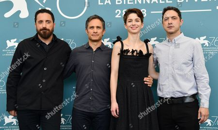 Stock Image of Pablo Larrain, Mexican actor Gael Garcia Bernal, Chilean actress Mariana Di Girolamo and Chilean productor Juan de Dios Larrain pose at a photocall for 'Ema' during the 76th annual Venice International Film Festival, in Venice, Italy, 31 August 2019. The movie is presented in the official competition 'Venezia 76' at the festival running from 28 August to 07 September.