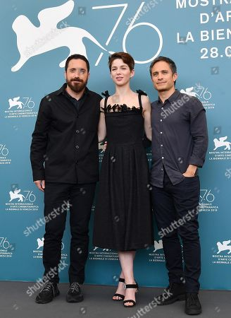 Pablo Larrain (L), Mexican actor Gael Garcia Bernal (R) and Chilean actress Mariana Di Girolamo (C) pose at a photocall for 'Ema' during the 76th annual Venice International Film Festival, in Venice, Italy, 31 August 2019. The movie is presented in the official competition 'Venezia 76' at the festival running from 28 August to 07 September.