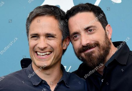 Pablo Larrain (R) and Mexican actor Gael Garcia Bernal (L) pose at a photocall for 'Ema' during the 76th annual Venice International Film Festival, in Venice, Italy, 31 August 2019. The movie is presented in the official competition 'Venezia 76' at the festival running from 28 August to 07 September.