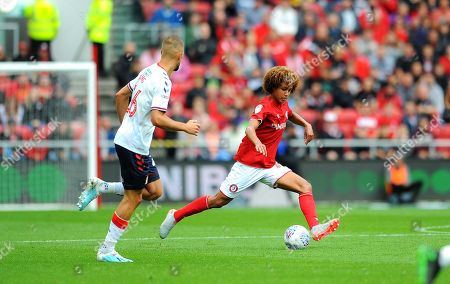 Han-Noah Massengo of Bristol City takes on Jonathan Howson of Middlesbrough-Mandatory by-line: Nizaam Jones/JMP