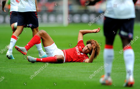 Han-Noah Massengo of Bristol City is fouled by Adam Clayton of Middlesbrough-Mandatory by-line: Nizaam Jones/JMP