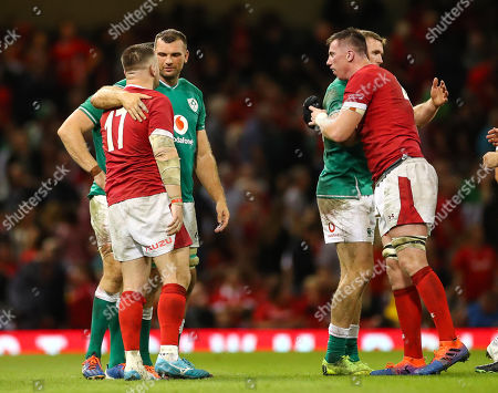 Wales vs Ireland. Ireland's Tadhg Beirne and Chris Farrell with Wales' Rob Evans and Adam Beard after the game
