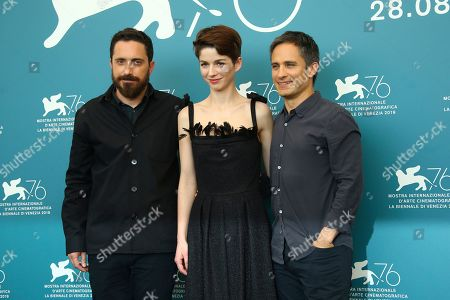 Pablo Larrain, Mariana Di Girolamo, Gael Garcia Bernal. Director Pablo Larrain, from left, actors Mariana Di Girolamo and Gael Garcia Bernal pose for photographers at the photo call for the film 'Ema' at the 76th edition of the Venice Film Festival in Venice, Italy