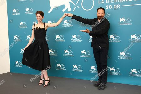 Mariana Di Girolamo, Pablo Larrain. Actress Mariana Di Girolamo, left, and director Pablo Larrain poses for photographers at the photo call for the film 'Ema' at the 76th edition of the Venice Film Festival in Venice, Italy