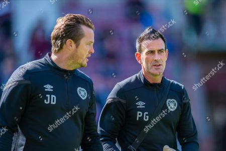 Heart of Midlothian coach Jon Daly (left) and Heart of Midlothian goalkeeping coach Paul Gallacher before the Ladbrokes Scottish Premiership match between Heart of Midlothian FC and Hamilton Academical FC at Tynecastle Stadium, Edinburgh